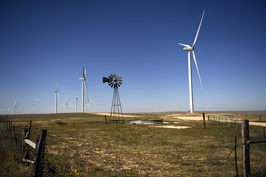 Xcel Energy's Rush Creek Wind Farm mixes renewable energy and agriculture. Joe Amon/The Denver Post via Getty