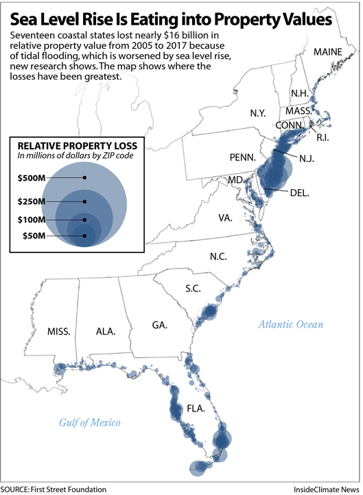 Map: Sea Level Rise Is Eating into Property Values