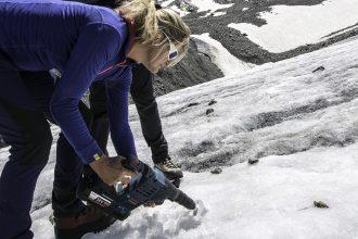 Birgit Sattler collects samples for the Black Ice Project she leads. Courtesy of Birgit Sattler/University of Innsbruck