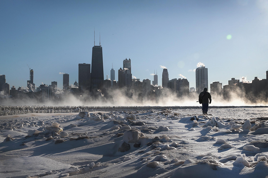 Temperatures plunged to well below zero in Chicago. Credit: Scott Olson/Getty Images
