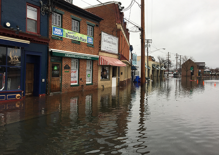 Flooding at City Dock can get into the businesses, as well. Credit: Alex Davies and Luis Rodriguez