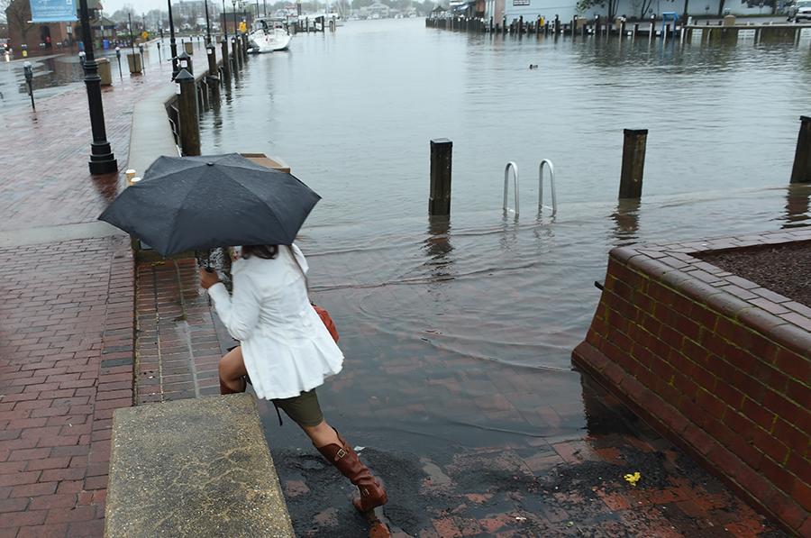 Storm surges add to the City Dock neighborhood's flood risk. Credit: Jonathan Newton/Washington Post via Getty Images