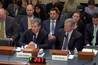 Govs. Roy Cooper of North Carolina and Charlie Baker of Massachusetts testified about climate risks and policies before the House Natural Resources Committee on Feb. 6, 2019. Source: Congress
