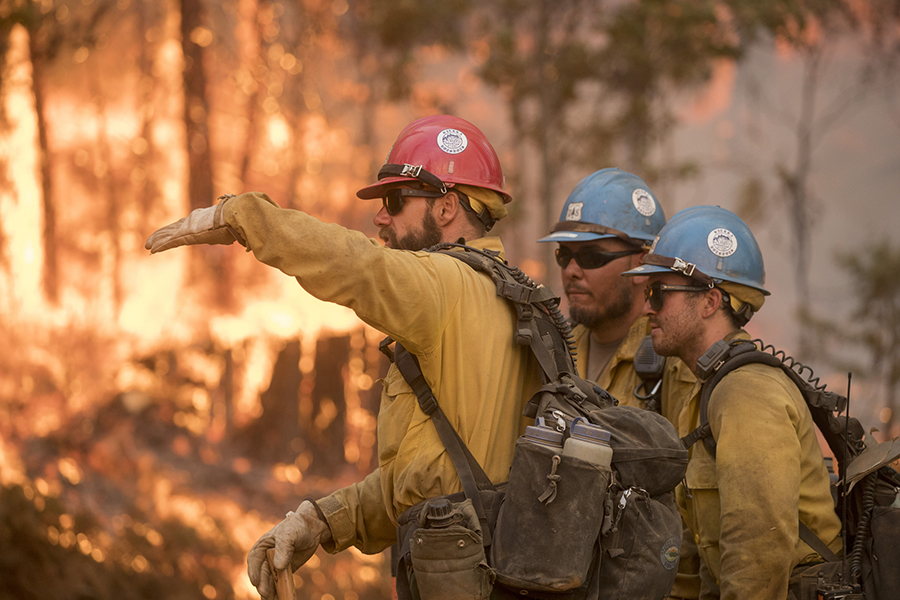 Members of the Sierra Hotshots, an interagency firefighting crew based in Southern California, battled the Ferguson Fire in July 2018. Credit: Kari Greer/U.S. Forest Service