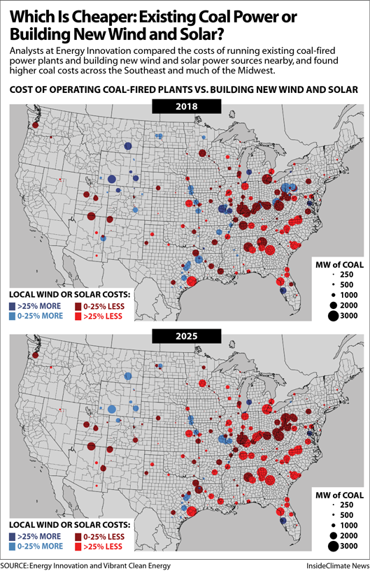 Map: Which Is Cheaper? Existing Coal Power vs. Building New Wind and Solar