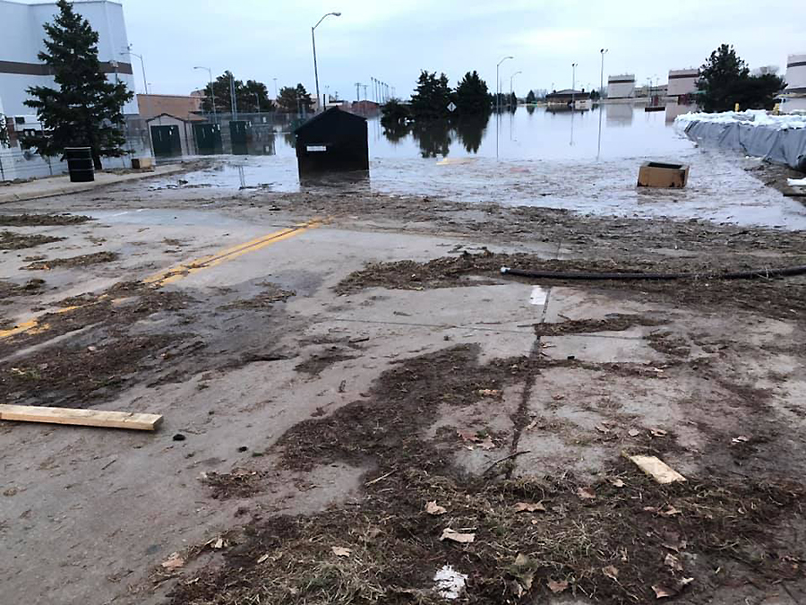 As the Missouri River floodwater starts to recede, Offutt Air Force Base will also be dealing with the debris that washed in. Credit: 55th Wing Command