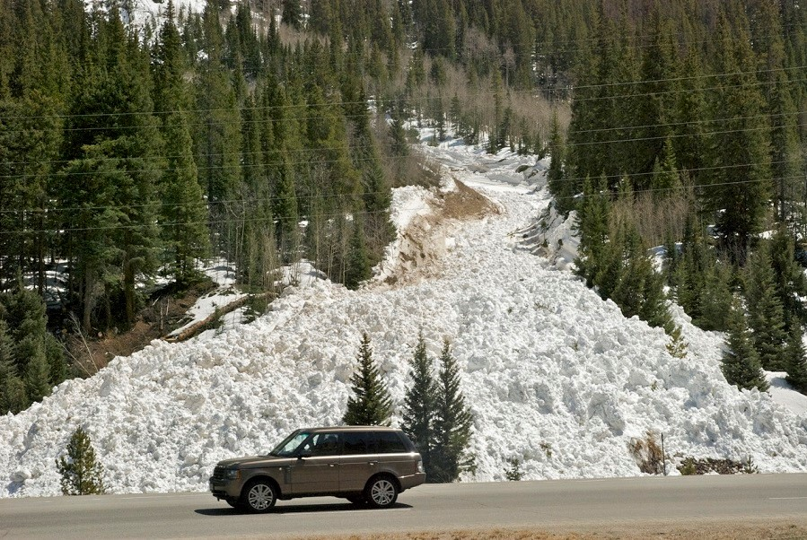 Avalanches, like this one near Frisco, can tear down trees and carry debris for miles. Credit: Bob Berwyn