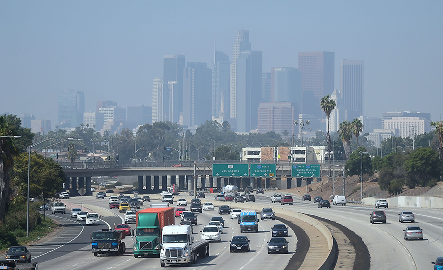 Air pollution in downtown Los Angeles in 2018. Credit: Frederic J. Brown/AFP/Getty Images