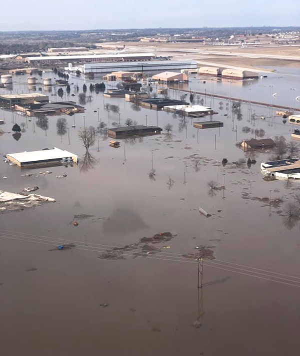 Flooding at Offutt Air Force Base in mid-March 2019. Credit: 55th Wing Command