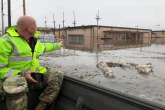 Missouri River flooding inundated parts of Offutt Air Force Base in March 2019. Credit: 55th Wing Command