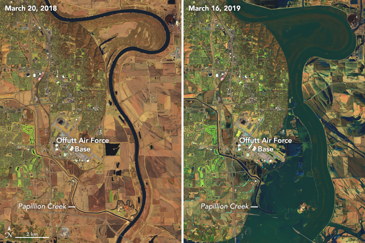 A satellite image shows the river's flooding as it spread into Offutt Air Force Base on March 16. Credit: Joshua Stevens/NASA Earth Observatory