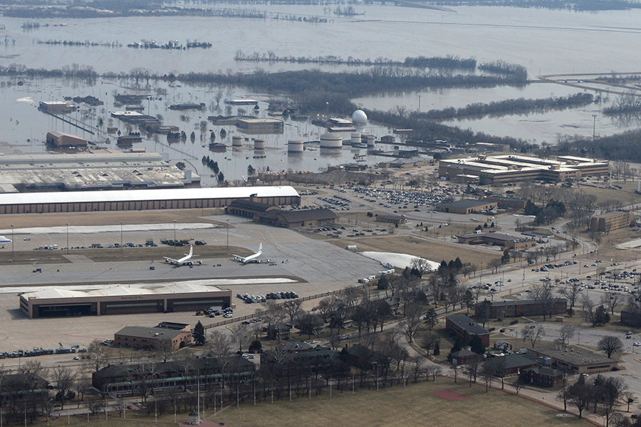 Flooding at Offutt Air Force Base in mid-March 2019. Credit: U.S. Air Force