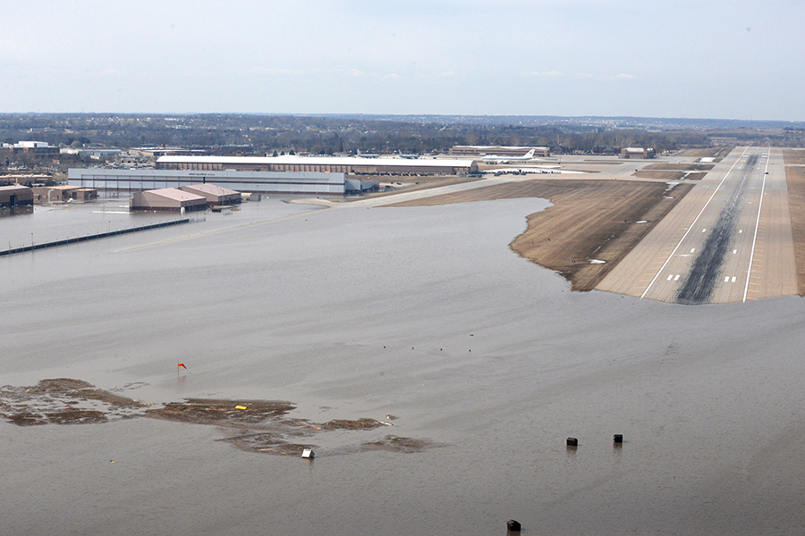 Flooding at Offutt Air Force Base in mid-March, 2019. Credit: 55th Wing Command