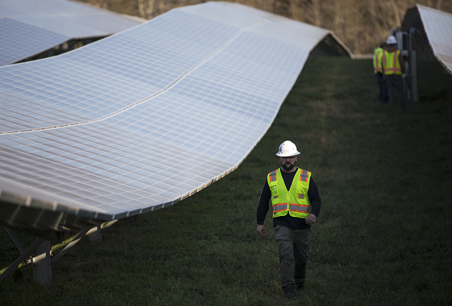 Maintenance workers on a solar farm. Credit: Robert Nickelsberg/Getty Images