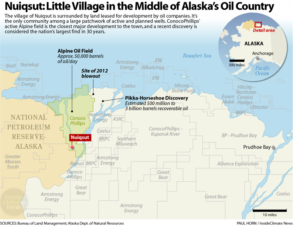 Map: Nuiqsut, Alaska, is surrounded by oil fields on the North Slope