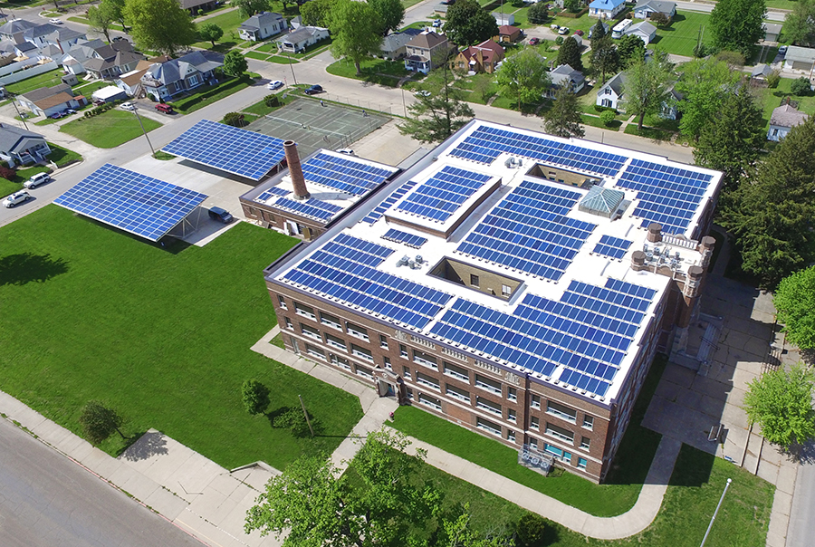 Most of Iowa's solar projects are built for homes, farms or businesses, like this solar array that Ideal Energy built on an apartment building in Fort Madison, Iowa. Photo courtesy of Ideal Energy.