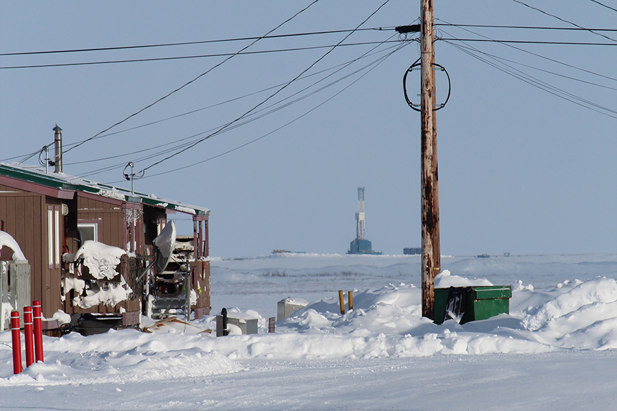 Drilling operations are visible from Nuiqsut's main street. Credit: Sabrina Shankman