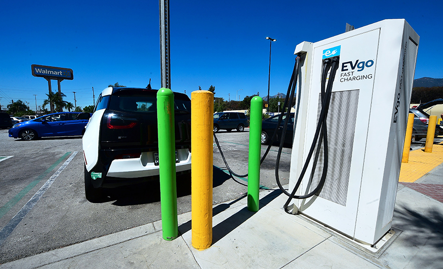 The electric vehicle charging startup EVgo has been partnering with stores, companies and government agencies to provided charging services. Credit: Frederick J. Brown/AFP/Getty Images