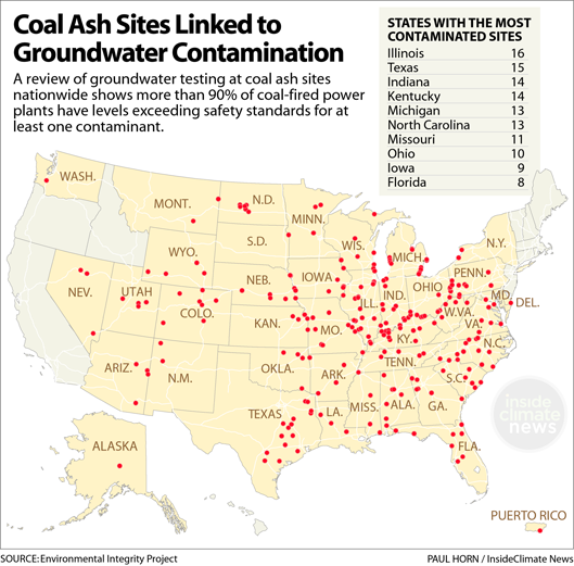 Power plant sites where coal ash was found to be contaminating groundwater.