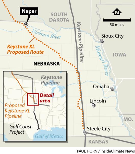 Map: Keystone XL's Proposed Route through Nebraska