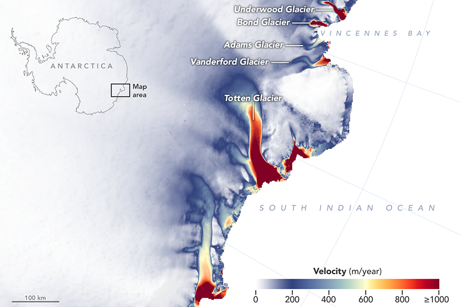 A NASA study late last year found that East Antarctica's glaciers have been losing ice faster over the past decade. Credit: NASA Earth Observatory/Joshua Stevens