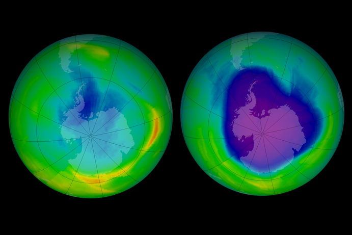 The ozone hole in 1979 and 2008. It's expected to decades longer to fully heal. Credit: NASA