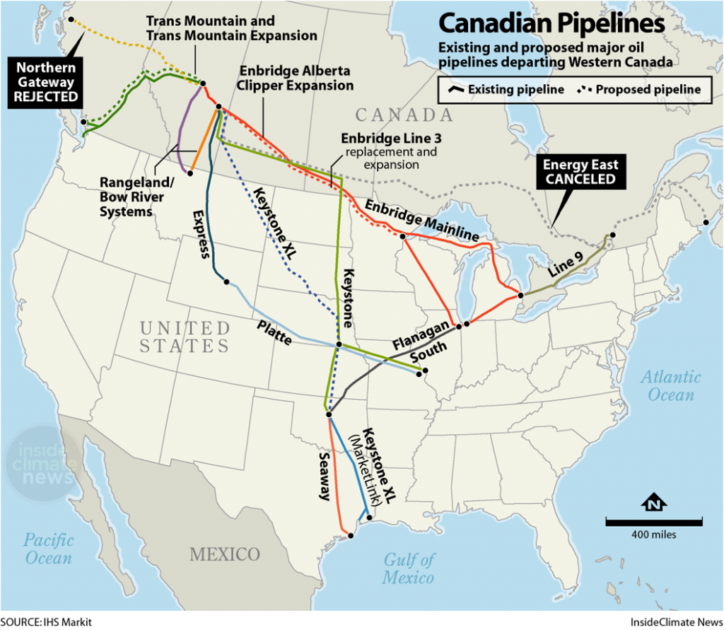 Map: Major Pipelines Carrying Canadian Oil
