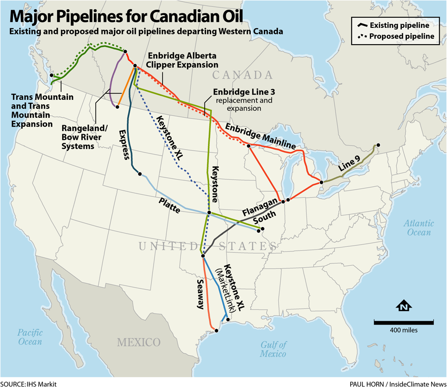 Keystone, and Other Major Pipelines for Canadian Oil