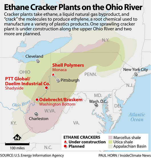 Map: Ethane Cracker Plants on the Ohio River