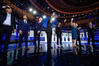 Democratic candidates take the stage for the second night of the first 2020 primary debate. Credit: Jim Watson/AFP/Getty