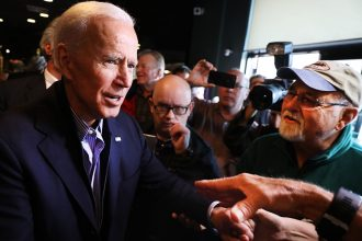 Joe Biden, campaigning here in New Hampshire in May, released a climate change plan. Credit: Spencer Platt/Getty Images