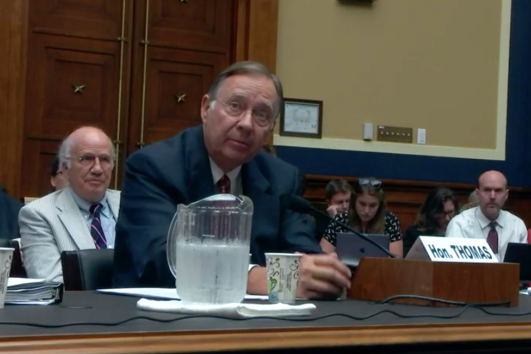 Lee Thomas, EPA administrator from 1985 to 1989 under President Ronald Reagan, testifying on concerns about the current EPA leadership. Credit: Congress