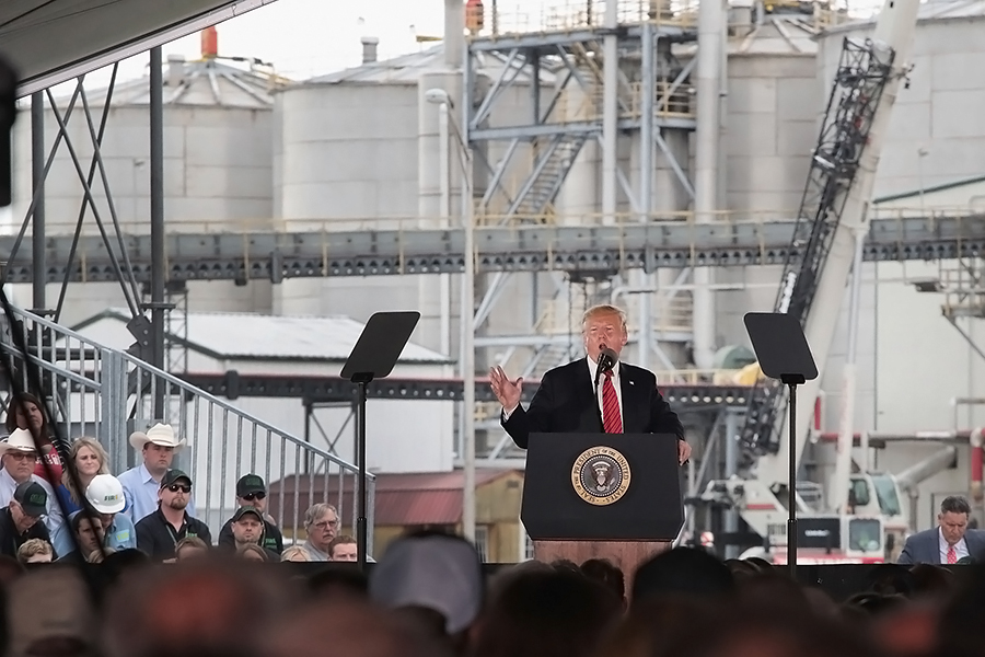 At a biofuels plant in Iowa on June 11, President Trump announced that the government would allow the sale of more gasoline containing higher blends of corn ethanol. Credit: Scott Olson/Getty Images
