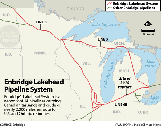 Map: Enbridge's Lakehead Oil Pipeline System