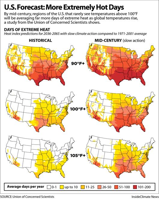 Maps: U.S. Forecast: More Extremely Hot Days
