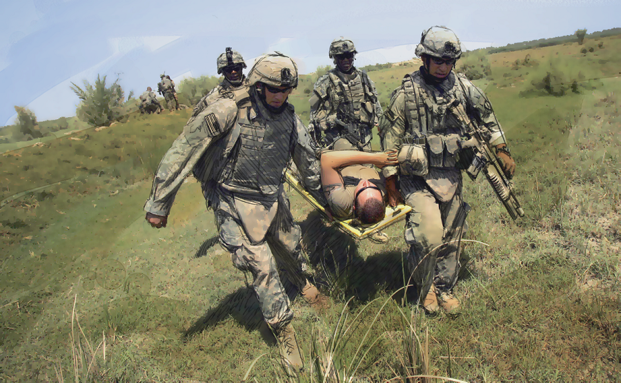 U.S. troops carry a fellow soldier who suffered heat stroke during a patrol in Iraq. Photo illustration by Paul Horn based on photo by David Furst/AFP/Getty Images