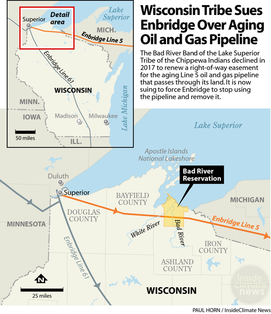 Map: Wisconsin Tribe Sues over Aging Line 5 Pipeline