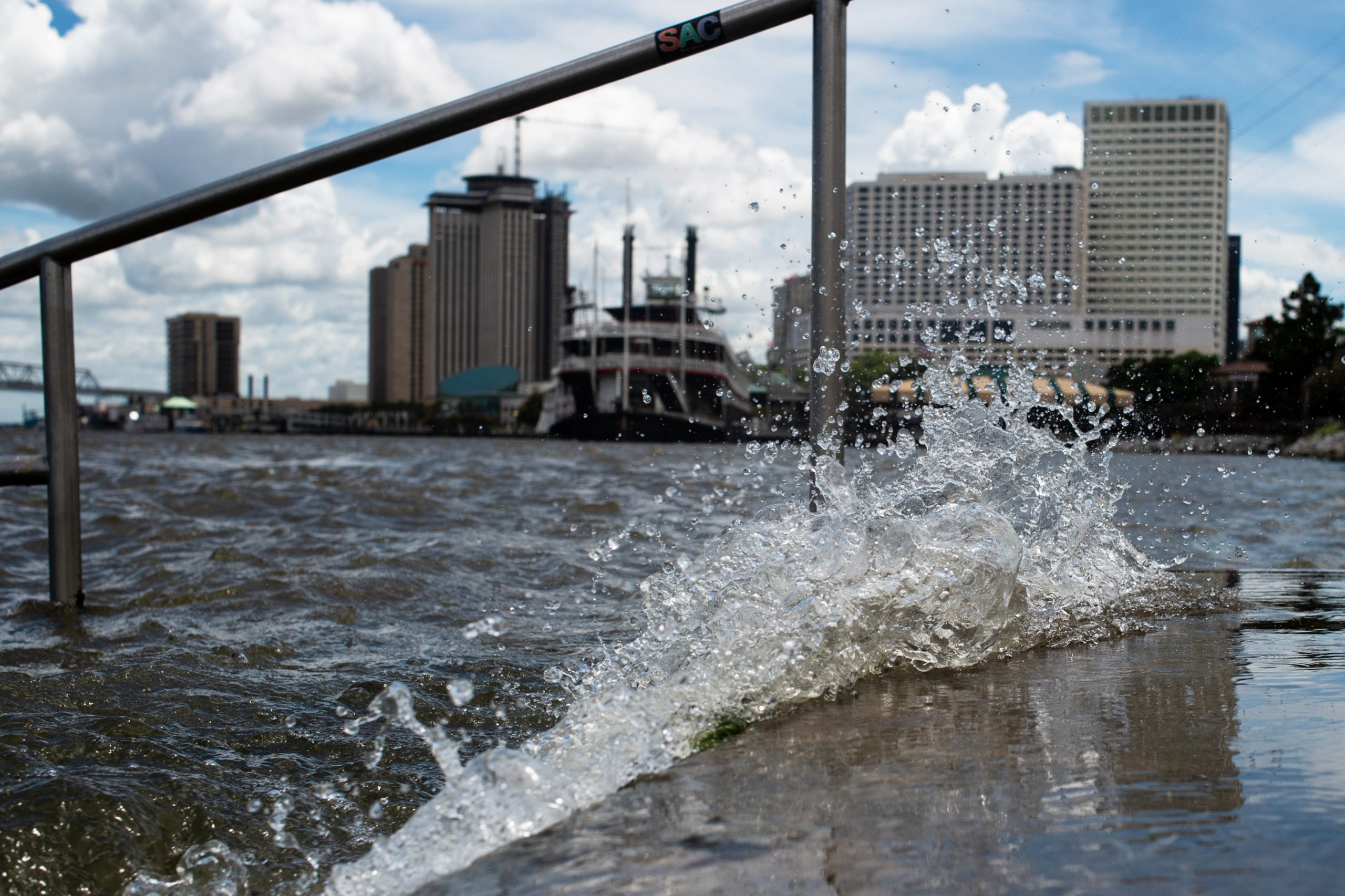 The rain-swollen Mississippi River was already flooding walkways and steps near a New Orleans levee when Barry became the second named storm of the 2019 hurricane season on July 11. Credit: Matthew Hatcher/SOPA Images/LightRocket via Getty Images