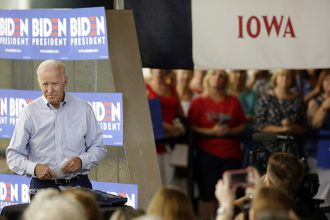 Joe Biden speaks at an event in Ottumwa, Iowa, in June 2019. Credit: Joshua Lott/Getty Images