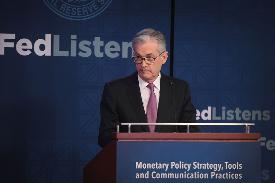 Jerome Powell, chairman of the Federal Reserve, speaking at an event in June. Credit: Scott Olson/Getty Images