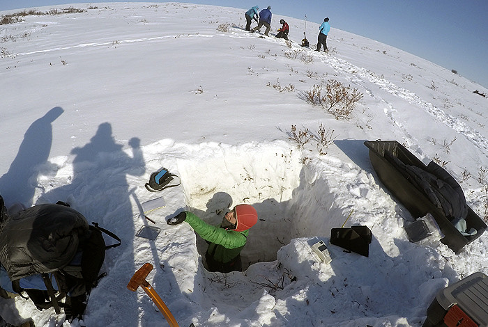 Scientists with the University of Alaska Fairbanks and two national labs conduct permafrost research. Credit: Los Alamos National Laboratory