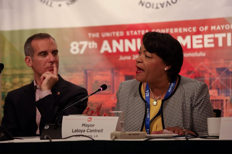 Mayors LaToya Cantrell of New Orleans and Eric Garcetti of Los Angeles at the U.S. Conference of Mayors. Credit: U.S. Conference of Mayors