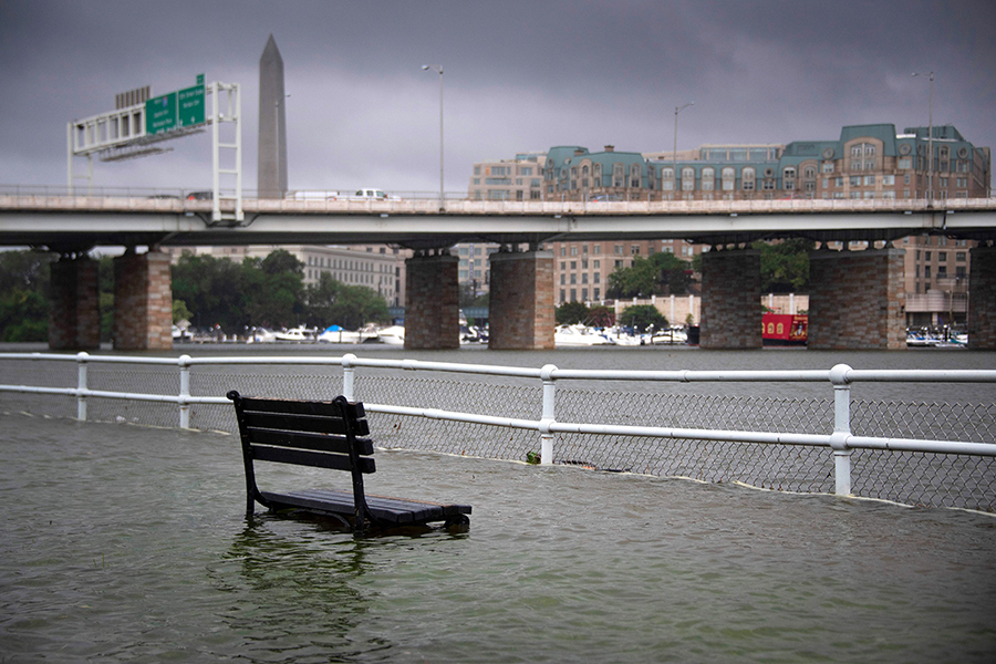 On July 8, 2019, the day before the resolution was introduced, an extreme downpour that dropped more than 3 inches of rain in an hour flooded several parts of the Washington, D.C., area. Credit: Jim Watson/AFP/Getty Images