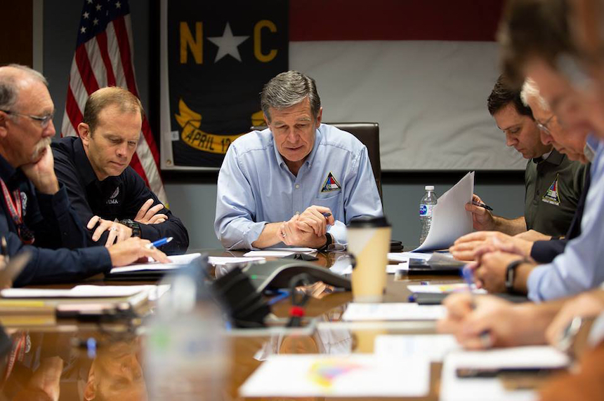 North Carolina Gov. Roy Cooper meets with disaster response officials. Credit: Office of the Governor