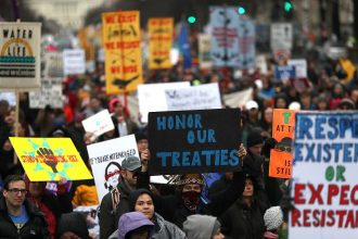 In 2017, after President Donald Trump cleared the way for the Dakota Access pipeline to be built, thousands of people joined members of the Standing Rock Tribe in a protest march in Washington, D.C.Credit: Justin Sullivan/Getty Images