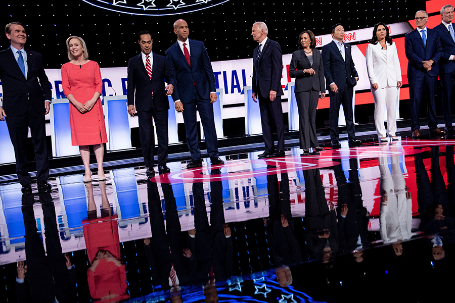 Round two of the second Democratic primary debate, held in Detroit. Credit: Brendan Smialowski/AFP/Getty Images