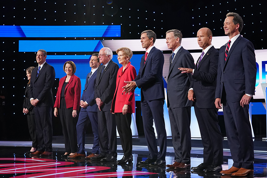 The first night of the two-night second debate of the Democratic presidential primary season. Credit: Scott Olson/Getty Images