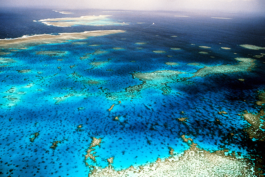 The Great Barrier Reef stretches for over 1,400 miles in a coral ecosystem that supports a wide variety of marine life. Rising sea temperatures as the planet warms are taking a toll on the corals. Credit: Raimund Franken/Ullstein Bild via Getty Images