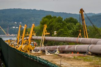 A pipeline being built to pass under the Hudson River. Credit: Erik McGregor/Pacific Press/LightRocket via Getty