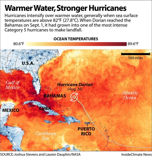 Map: Hurricane Dorian and Warm Ocean Temperatures